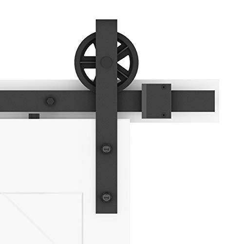 DIYHD TSQ15 5FT Industrial Big Spoke Wheel Sliding Barn HardwareFit Width Up to 29 Track Single Door kit