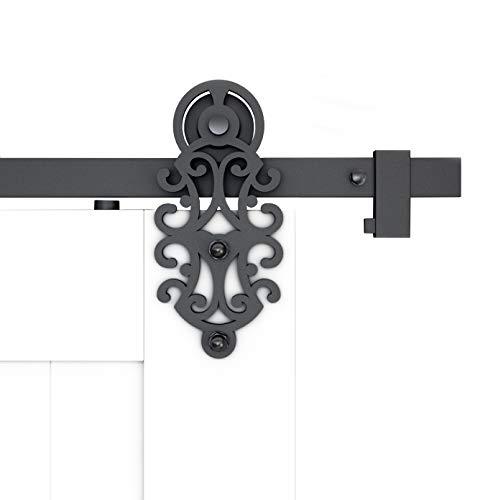 DIYHD TSQ72 55FT Ornate Cut Black Iron Sliding Barn Hardware Single Door kit