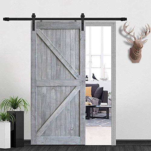 DonYoung 12FT Sliding Barn Door Hardware Kit for Single Door Heavy Duty Steel Barn Door Track Quiet and Smooth Wheel Includes All Necessary Accessories Black J Shape Hanger
