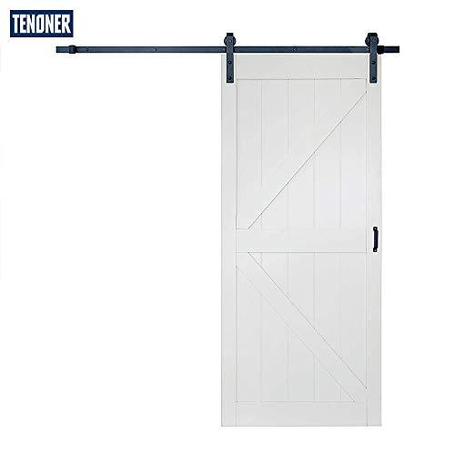 TENONER Sliding Barn Door36in x 84in K-Frame Whitewith Barn Door Hardware KitDIY Door