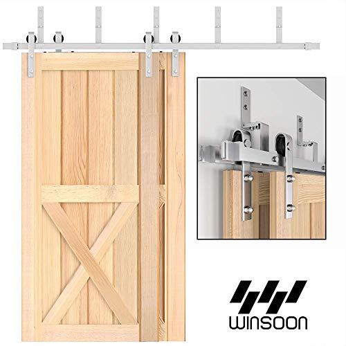 WINSOON 4FT-18FT Modern Sliding Bypass Barn Door Hardware 304 Stainless Steel Double Doors Kit Cabinet Closet System Silver 6FT Bypass Hardware Kit