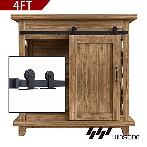 WINSOON 4FT Top Mounted Super Mini Sliding Barn Door Cabinet Hardware Kit for Single Door TV Stands Small Wardrobe Cabinets T Shape Hanger NO Cabinet