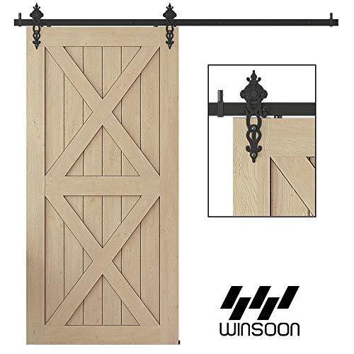 WINSOON New Style Single Rustic Barn Wood Interior Sliding Door Hardware Kit Retro Roller Track Cabinet Closet Kit 12FT