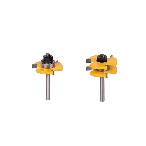 2Pcs Tongue and Groove Router Bit Set 14 Inch Shank 3 Teeth T-shape Woodworking Tools by Farmunion