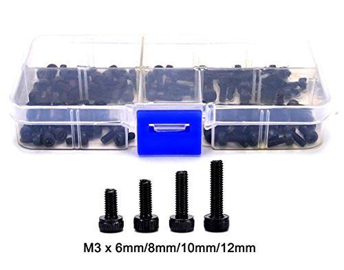 FPVKing M3 Machine Screws M3 x 6 mm 8 mm 10 mm 12 mm Hex Bolt Socket Head Cap Screws Kit Screws Assortment in a Storage Box Machine Screws 129 Grade Alloy Steel100pcs