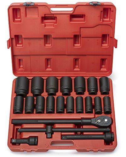 Neiko 02409A 34 Drive Deep Impact Socket Set 22 Piece  Includes Ratchet Bar Drivers  SAE 78 - 2  Cr-Mo Steel