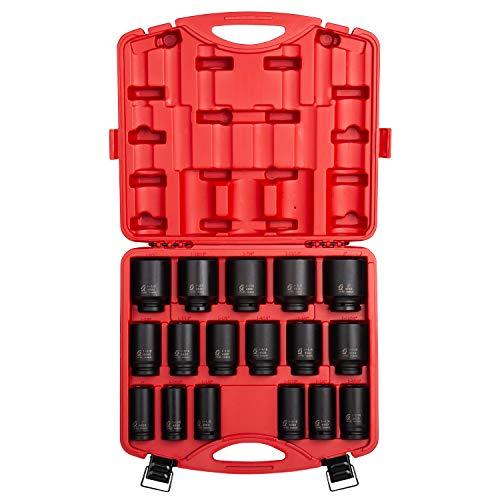 Sunex 4685 34 Inch Drive Deep Impact Socket Set 17-Piece SAE 1-2 Cr-Mo Steel Radius Corner Design Dual Size Markings Heavy Duty Storage Case