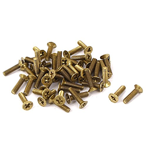 uxcell M3 x 12mm GB819 Phillips Drive Countersunk Screws Brass Tone 50 Pcs