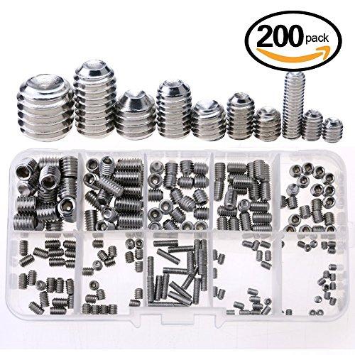 Glarks 200-Piece M3 4 5 6 8 Hex Allen Head Socket Set Screw Assortment Kit 304 Stainless Steel
