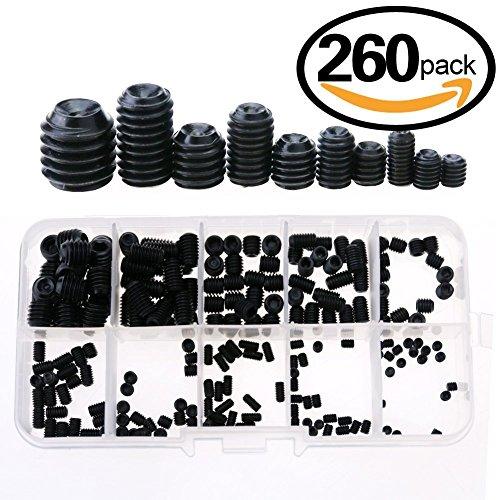 Glarks 260-Piece M3 4 5 6 8 Hex Allen Head Socket Set Screw Assortment Kit 129 class alloy steel