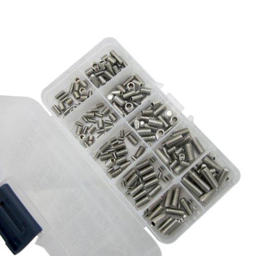 Merlintools 200 Pieces Stainless Steel Hex Socket Set Screw Assortment Kit