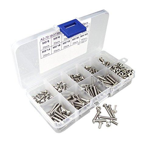 Hanperal 340pcs M3 A2 Stainless Steel Hex Screw Nuts Bolt Cap Socket Assortment Set