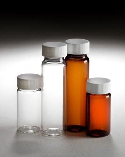 Qorpak 242635 Amber Type I Glass Sample Vial 24-400 White Polystyrene Plastic F217 PTFE Cap 10 dram Case 144