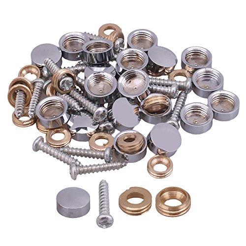20pcs Fitting Parts Metal Silver Screw Cap Mirror Nails Decoration Lid 10mm