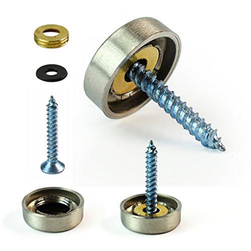 GUANLANG 4 Pcs 22mm Dia Steel Screw Caps Decorative Mirror Nails