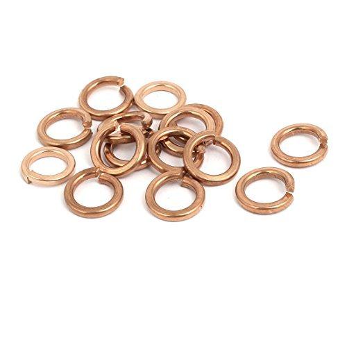 15pcs 8mm Internal Diameter Brass Split Lock Spring Washer Gasket Gold Tone