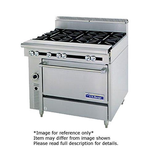 Garland C0836-13C Cuisine Series Heavy Duty 36 Gas Range with 4 30000 BTU Open Burners - Left Right 1 12 Even Heat Hot Top - Center Cabinet Base