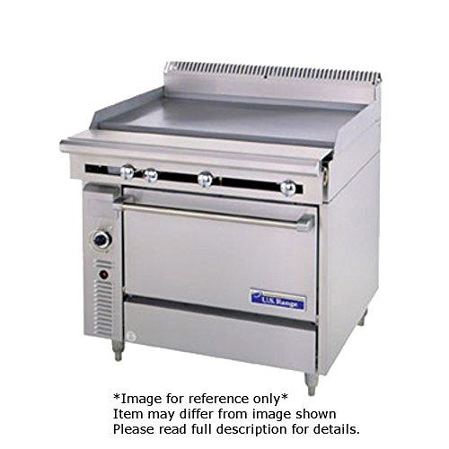 Garland C0836-4M Cuisine Series Heavy Duty 36 Gas Range with 2 30000 BTU Open Burners - Right 1 18 Manual Griddle - Left Modular Base