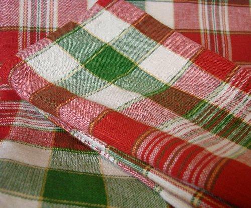 CS-B848 Christmas Small Plaid 84 X 60 Tablecloth 8 Dinner Napkin Set Rectangular 100 Cotton Red Green Natural