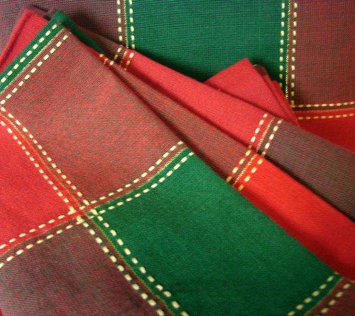 CS-D848 Christmas Large Tartan Plaid with Yellow Overstitch 84 X 60 Tablecloth 8 Dinner Napkin Set Rectangular 100 Cotton Red Green Gold