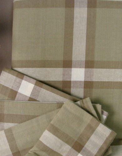 tc-O60 Muted Sage Cream Tartan 60 Round Tablecloth 100 Cotton Plaid Taupe