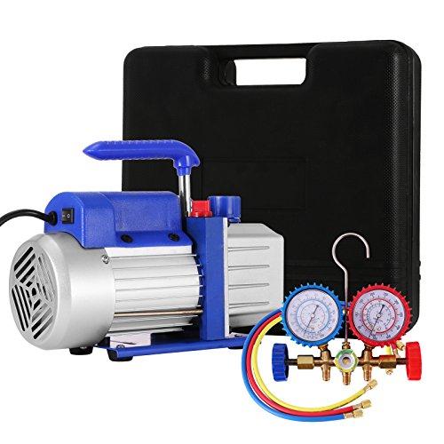 VEVOR Vacuum Pump Kit HVAC Single Stage AC Vacuum Pump 4CFM 14HP Air Vacuum Pump with 1 Valve AC Manifold Gauge Set Refrigerant Air Conditioning 4CFM14HP 1Valve