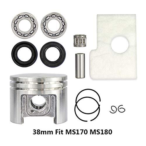 Rubsy 38mm Motor Piston Kit Universal Crankshaft Bearing Oil Seals Kit for Fit Stihl MS180 MS170
