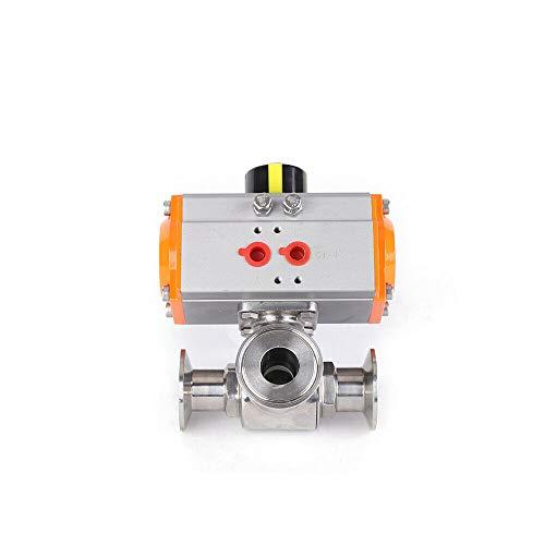 HYYKJ Pneumatic Ball Valve Actuator 304 Food Grade Stainless Steel Sanitary 3 Way T Port Tri-Clamp Pneumatic Actuated Ball Valve PTFE Sealing 15 Inch Port Diameter