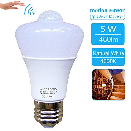 5W PIR Motion Sensor Light Bulb Indoor Smart Sensor Bulb E26E27 Outdoor Motion Activated Light Bulb Natural White Auto Switch LED Night Light Bulb for Frontdoor Stairs Garage Corridor Walkway Yard