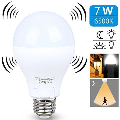 Motion Sensor Light Bulb ,7W Smart Bulb Dusk to Dawn LED Motion Sensor Light Bulbs, E26 Base Indoor Sensor Night Lights Soft White 6500K Outdoor Motion Sensor Bulb Auto OnOff by aijiaer