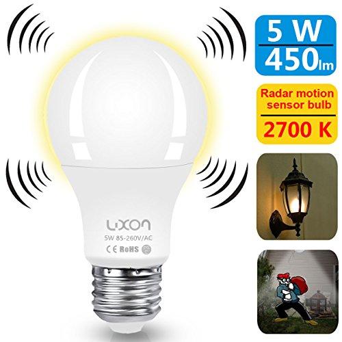 Motion Sensor Light Bulb 5W Smart Bulb Radar Dusk to Dawn LED Motion Sensor Light Bulbs E26 Base Indoor Sensor Night Lights Soft White 2700K Outdoor Motion Sensor Bulb Auto OnOff by Luxon