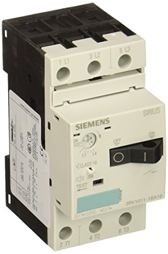 Siemens 3RV1011-1BA10 Motor Starter Protector Screw Connection 3RV101 Frame Size 14-2 FLA Adjustment Range 26A Instantaneous Short Circuit Release 65kA UL Short Circuit Breaking Capacity at 480V