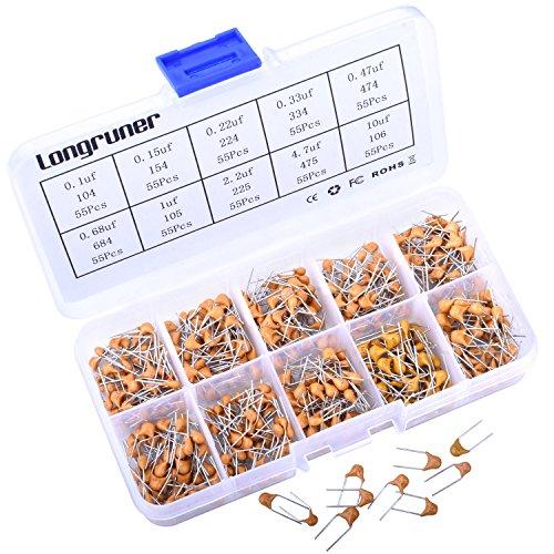 Longruner 550PCS 10 Values 01uF to 10uF Multilayer Monolithic Ceramic Chip Capacitor Set Assortment Kit  Plastic Box LP14