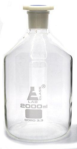 2000mL 676oz Glass Reagent Bottle with Acid Proof Polypropylene Stopper Borosilicate 33 Glass - Eisco Labs