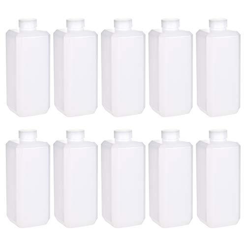 uxcell Plastic Lab Chemical Reagent Bottle 500ml169 oz Wide Mouth Sample Sealing LiquidSolid Storage Bottles White 10pcs