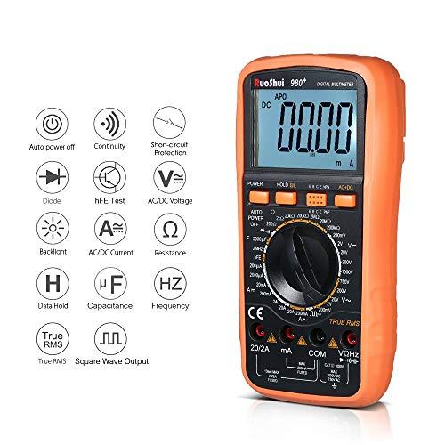 Nuokix Digital Multimeter - 19999 Counts Digital Multimeter True Rms Multi-Functional Multi Meter Dmm Measuring DcAc Voltage Current Resistance Diode Capacitance Tester Hfe Me Testing Measuring Tools