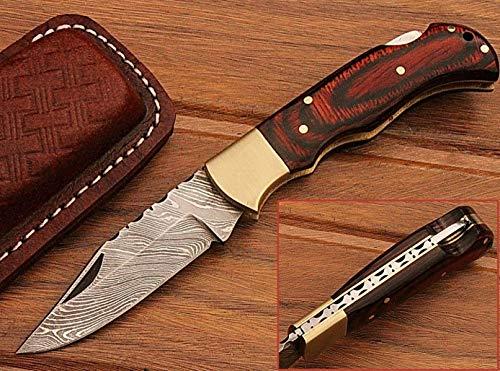 Prime Quality Wood Handle 65 Damascus Steel Folding Pocket Knife WCase