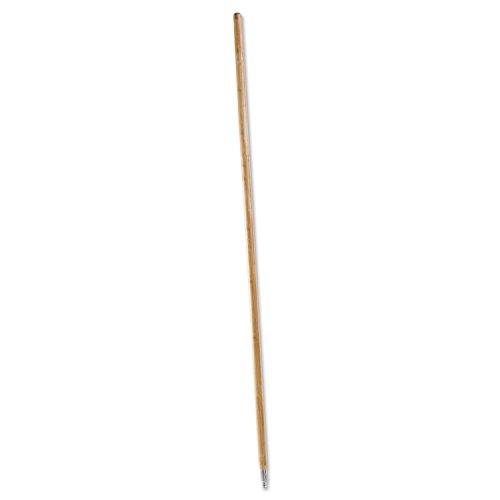 Boardwalk 138 Metal Tip Threaded Hardwood Broom Handle 1 18 dia x 60 Natural