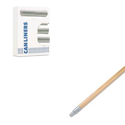 KITBWK136BWK243306 - Value Kit - Boardwalk Metal Tip Threaded Hardwood Broom Handle BWK136 and Boardwalk Waste Can Liners BWK243306