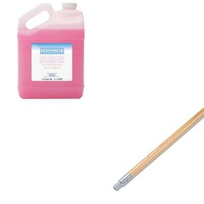 KITBWK136BWK410EA - Value Kit - Boardwalk Metal Tip Threaded Hardwood Broom Handle BWK136 and Boardwalk Mild Cleansing Pink Lotion Soap BWK410EA