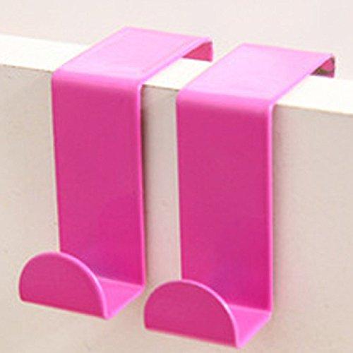 Door Hook Rack SOUFUN Stainless Steel Kitchen Bathroom Cabinet Draw Clothes Hanger Door Back Holder Organizer Shelf Hot pink