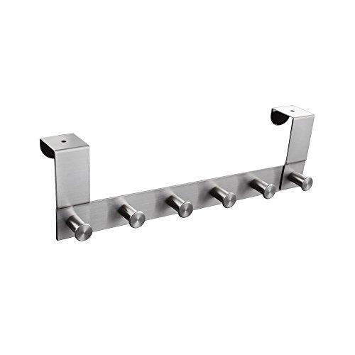 KES Stainless Steel Over-the-Door Hook Organizer Rack 6 Hook Brushed Finish