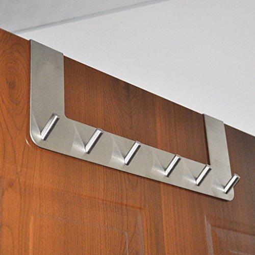 Over the Door Hooks Sumnacon Stainless Steel Door Hanger With 6 Hooks Heavy Duty Towel Jackets Coat Clothes Door Organizer Rack For Bathroom Bedroom Kitchen Fit 15  To 18  Thickness Door
