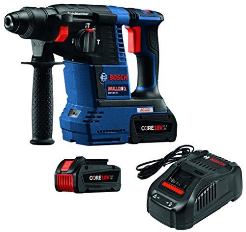 Bosch GBH18V-26K24 18V EC Brushless 1 SDS-plus Bulldog Rotary Hammer Kit with CORE18V 63 Ah Batteries Blue