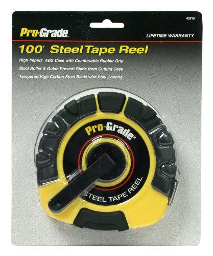 Pro-Grade 42810 38-Inch x 100-Feet Steel Tape Measure with Rubber Grip