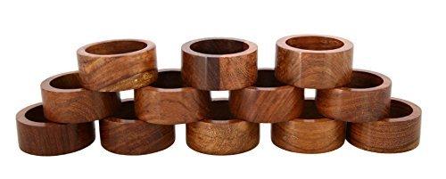 ShalinIndia Handmade Party Decor Wooden Napkin Rings Set of 12 for Table Dinner Decoration