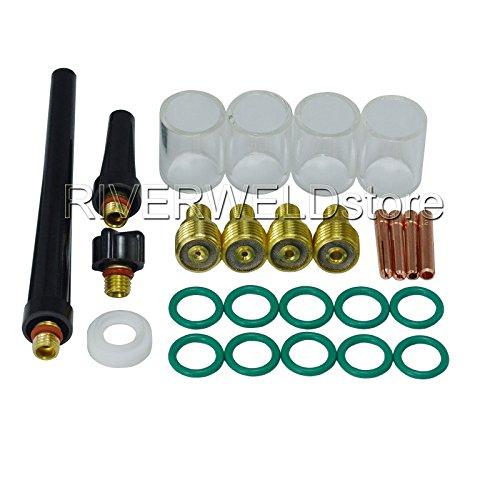 TIG Gas Lens Collet Body 10 Pyrex Cup Kit DB SR WP 9 20 25 TIG Welding Torch 26pcs
