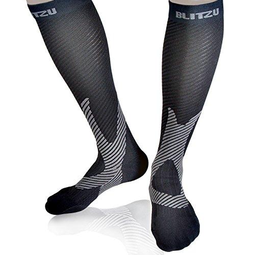 Blitzu Compression Socks 20-30mmHg for Men Women BEST Recovery Performance Stockings for Running Medical Athletic Edema Diabetic Varicose Veins Travel Pregnancy Relief Shin Splints SM BLACK
