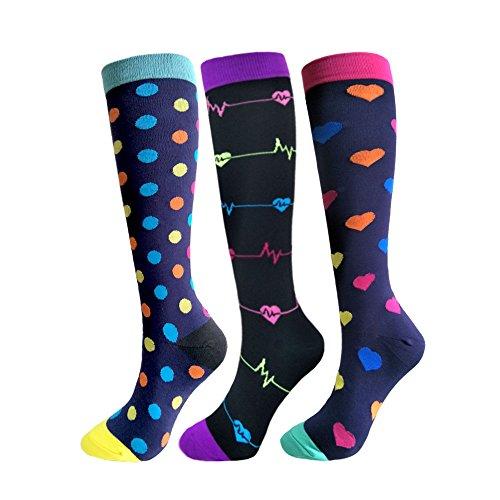Compression Socks For Men Women - 3 Pairs - Best for RunningMedicalAthletic SportsFlight Travel Pregnancy - 20-25mmHg Multicoloured 5 SM