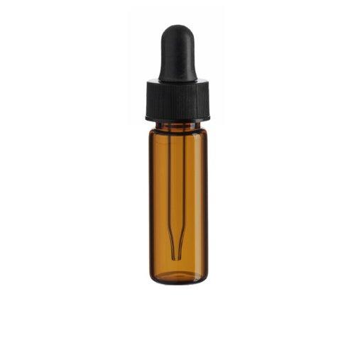 1 Dram AMBER Glass Vial - Dropper - Pack of 72